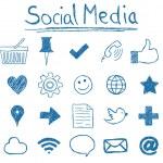 Illustration of Social Media Icons, hand-drawn sty...