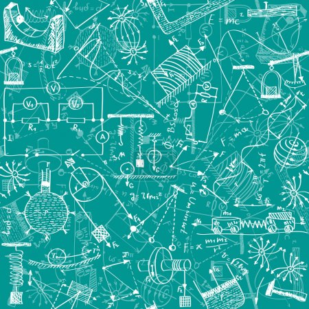 Illustration for Seamless pattern background - illustration of physics drawings, doodle style - Royalty Free Image