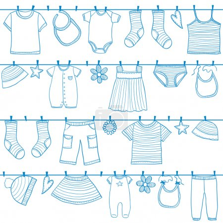 Children and baby clothes on clothesline seamless ...