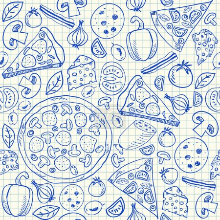 Illustration for Illustration of pizza doodles, seamless pattern on squared paper - Royalty Free Image