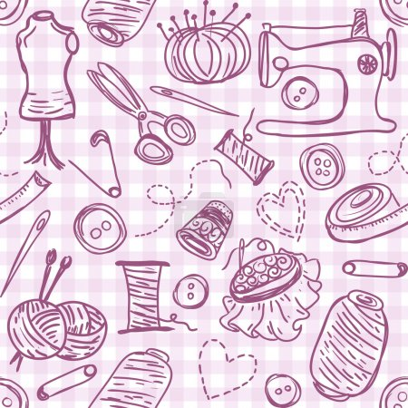 Illustration for Illustration of sewing doodles on seamless pattern background - Royalty Free Image
