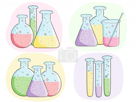 Illustration for Illustration of laboratory test tubes with colored liquid - Royalty Free Image