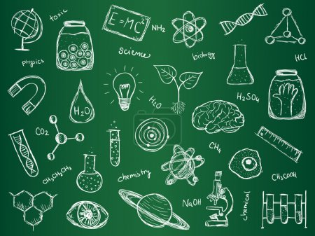 Photo pour Illustration de choses scientifiques sur le conseil scolaire vert. Style dessiné à la main . - image libre de droit
