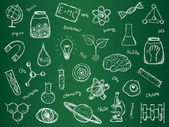 Illustration of scientific stuff on green school board Hand drawn style