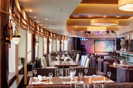 Photo for New and clean luxury restaurant in european style - Royalty Free Image