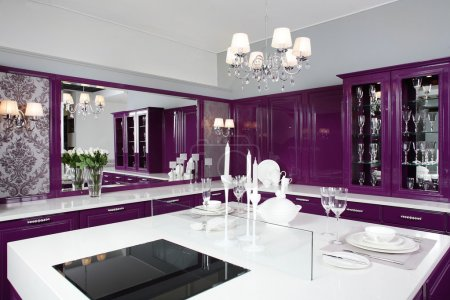 Photo for Luxury purple kitchen interior with modern furniture - Royalty Free Image