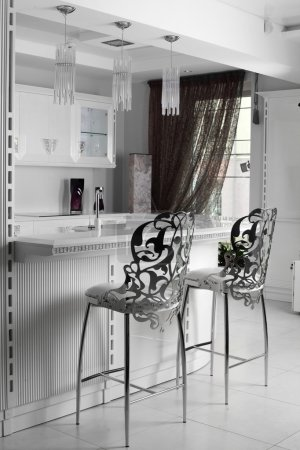 Photo for Black and white luxury kitchen interior with modern furniture - Royalty Free Image