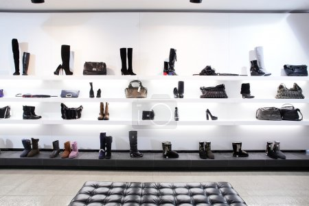 Photo for Bright large shoe store with new collection - Royalty Free Image