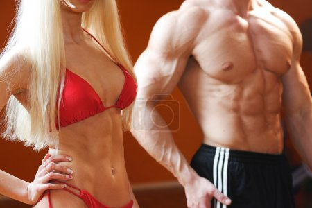 Photo for Strong and beautiful bodies of european bodybuilders - Royalty Free Image