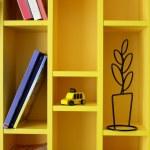 Bright and beautiful book shelf in children room...