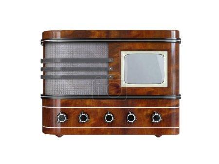 Vintage TV Set on white background. 3D image...