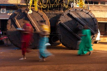 Walking Ratha Chariot Wheels Blurred