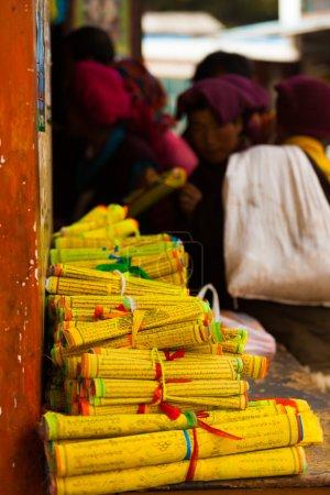 Yellow Tibetan Prayer Scrolls Text Monks Buying