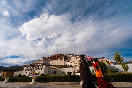 Tibetans Potala Palace Front Clouds Base Lhasa