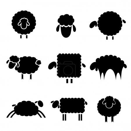 Illustration for Black silhouette of sheep on a light background - Royalty Free Image