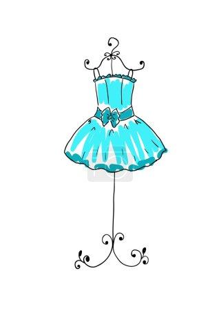 Illustration pour Magnifique robe bleue sur un cintre - image libre de droit