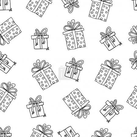 Illustration pour Modèle vectoriel sans couture avec des boîtes-cadeaux, coloré . - image libre de droit