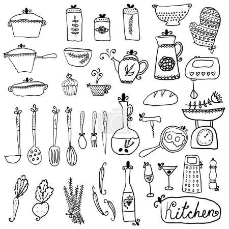 Kitchen set in vector. Stylish design elements of kitchen.