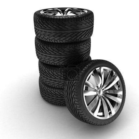 Five tires. Chromed disks. 3d render