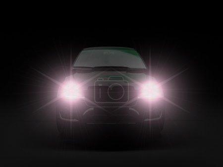Photo pour Voiture noire avec lumières halogènes - image libre de droit