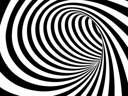Illustration for Black and white abstract vector tunnel - Royalty Free Image