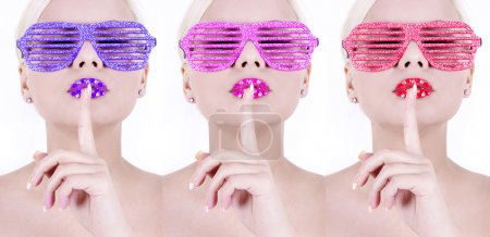 Colorful glamour glitter glasses on sexy girls, high fashion look