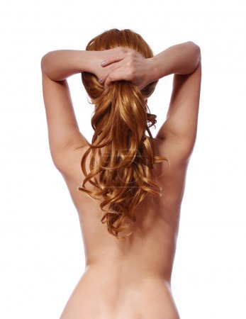 curly brown hair, backside of sexy young woman with long ponytail isolated on white