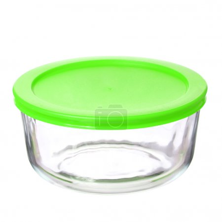Photo for Glass food container with green plastic lid isolated on white background - Royalty Free Image