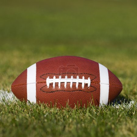 Photo for American Football on the field with yard line and green grass. Closeup - Royalty Free Image