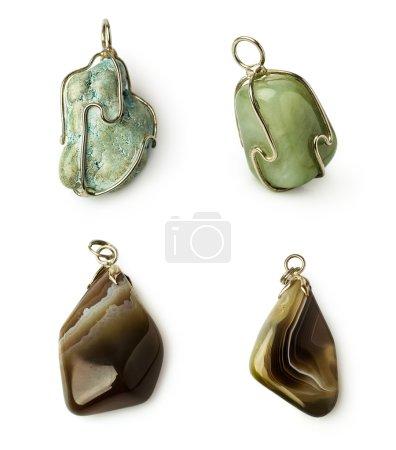 set stones necklace isolated on white