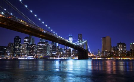 Photo for Brooklyn bridge and skyline at night - Royalty Free Image