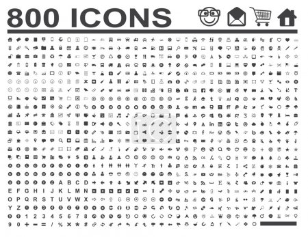 Illustration for 800 Icons for business and web projects - Royalty Free Image
