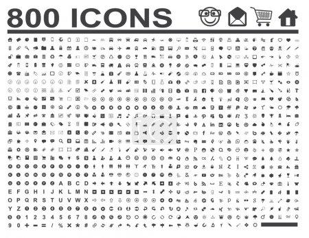 Illustration pour 800 icônes pour des projets d'affaires et web - image libre de droit