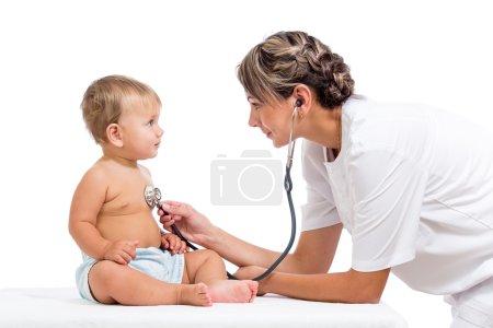 Smiling doctor examining baby isolated on white background