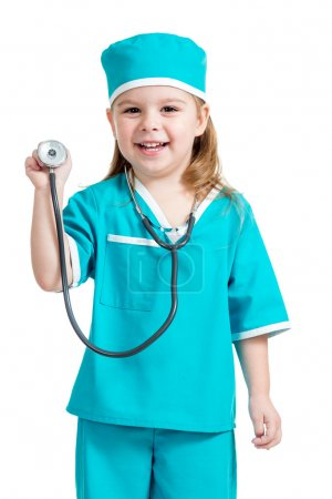 Adorable child girl uniformed as doctor isolated on white backgr