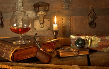 Photo for A good old book, a glass of cognac and my pipe - Royalty Free Image