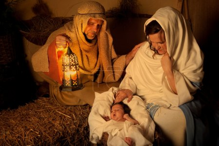 Photo for Living christmas nativity scene reenacted with a real 18 days old baby - Royalty Free Image