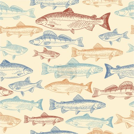 Illustration for Seamless pattern with hand drawn fish - Royalty Free Image