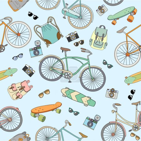 Illustration for Seamless pattern with bicycles, boards and accsessories - Royalty Free Image