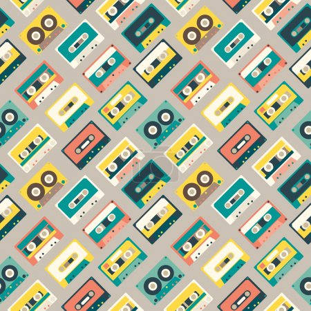 Seamless pattern with retro audio tapes