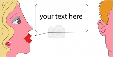 Illustration for Image of young woman and man with speech bubble, eps 8 - Royalty Free Image
