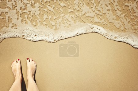Photo for A wave comes in, as I stand and wait. copyspace. - Royalty Free Image