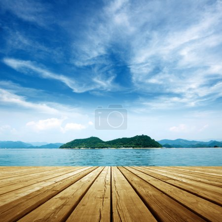 Photo for Under the blue sky,platform beside sea . - Royalty Free Image