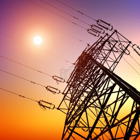 Photo for High voltage post.High-voltage tower sky background. - Royalty Free Image