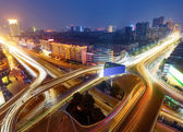 Modern urban viaduct at night