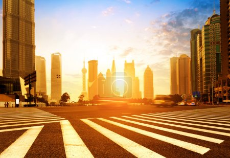 Photo for China Shanghai modern architecture, motion blur car. - Royalty Free Image