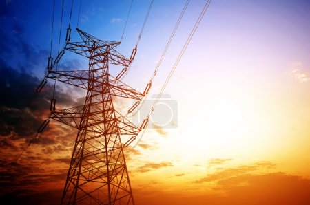 High voltage post.High-voltage tower sky backgroun...
