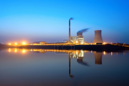 Photo for Thermal power plant at night - Royalty Free Image