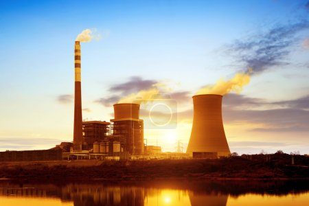 Photo for At dusk, the thermal power plants - Royalty Free Image