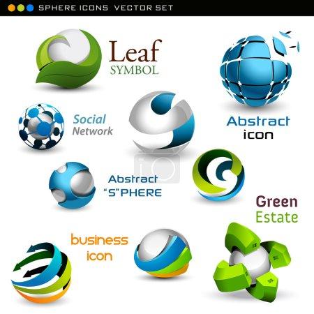Illustration pour Ensemble de sphères de vecteur, idéales pour l'identité corporative - image libre de droit